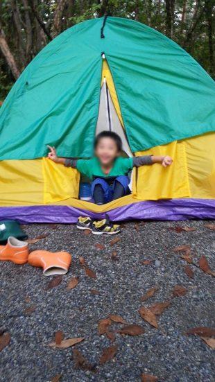 初キャンプのテント