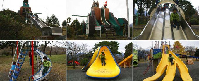 もちや遊園地にある沢山の滑り台