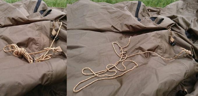 乾きにくいテントのロープ