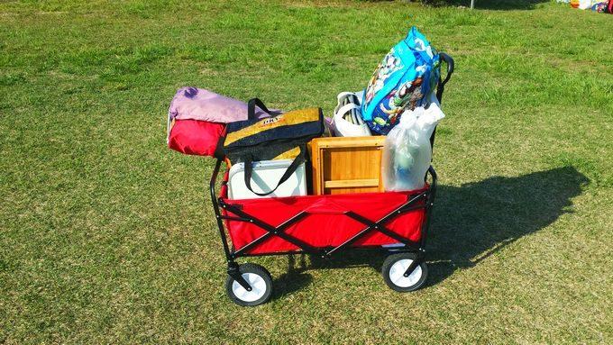 キャリーカートに荷物を搭載