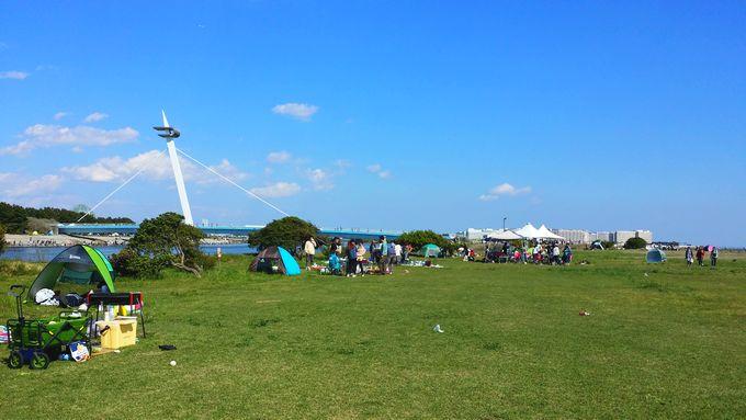 葛西海浜公園のBBQエリアと渚橋