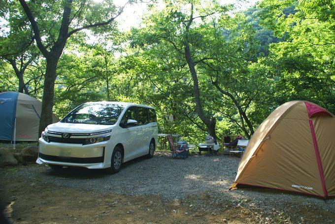 狭いサイトだと車とテントが近い場合がある