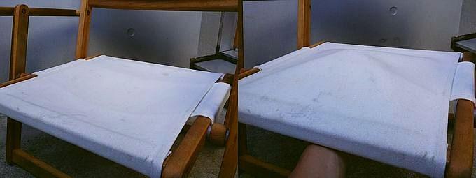 ニトリの木製ローチェアの座面の沈み具合
