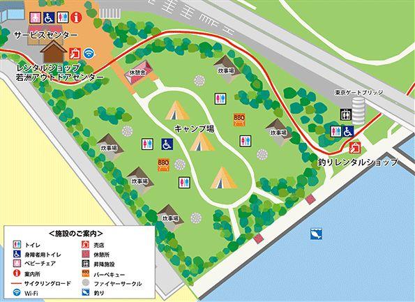 若洲公園キャンプ場 場内マップ