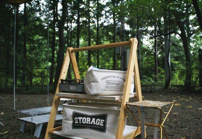 キャンプで使う木製のおしゃれラック