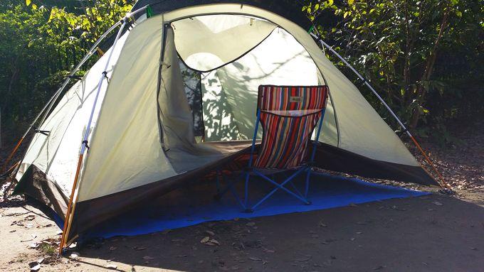 テントの底を乾燥中