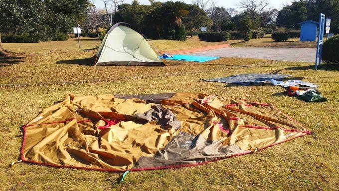 市原市海釣り施設でテントを乾燥