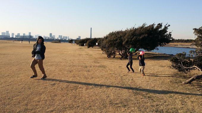 野原でボール遊びしている子供に追いかけられる