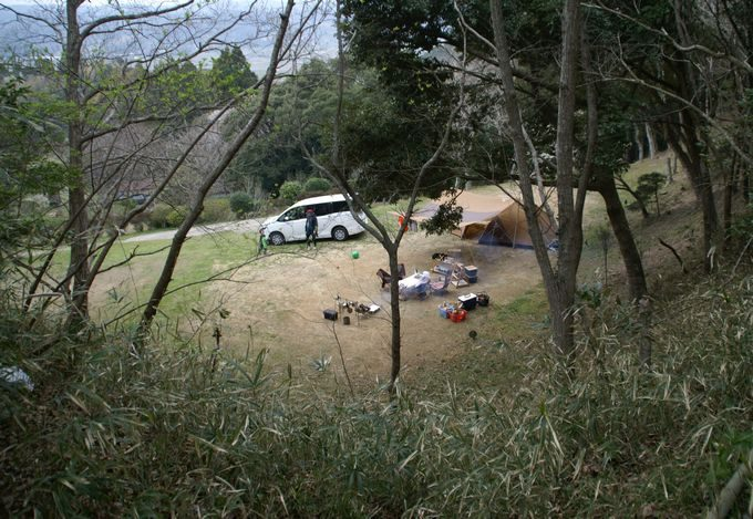 大原上布施オートキャンプ場 上段サイト 左奥の最上段サイト