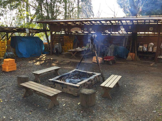 有野実苑オートキャンプ場のサイトA~C中央のクラフト広場 焚き火