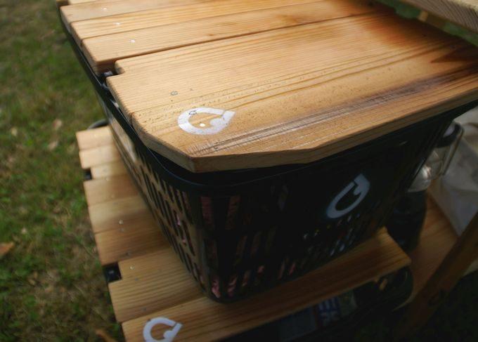 キャンプステンシル(キャンステ)で買い物の天板テーブルにログを刻む