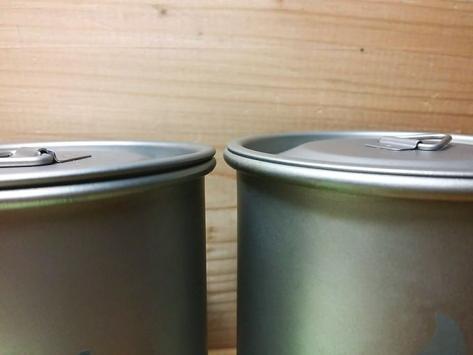 Gaobabu(ガオバブ)とLixadaのチタンマグカップの蓋の厚さ
