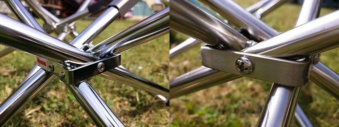 MAGNA(マグナ)と(UNIFRAME)ユニフレームのファイアグリルを比較 脚の支点のリベット