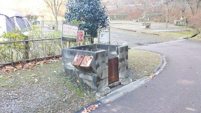 清和県民の森 オートキャンプ場の入り口には灰捨場がある
