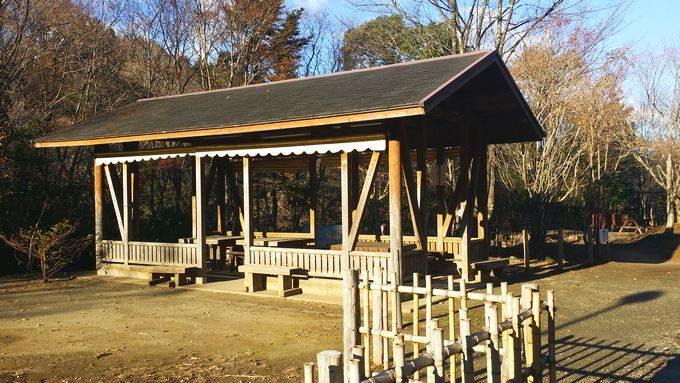 清和県民の森 キャンプ場 手前のサイトの東屋