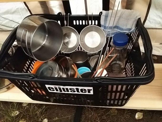 買い物カゴで洗った食器を乾燥