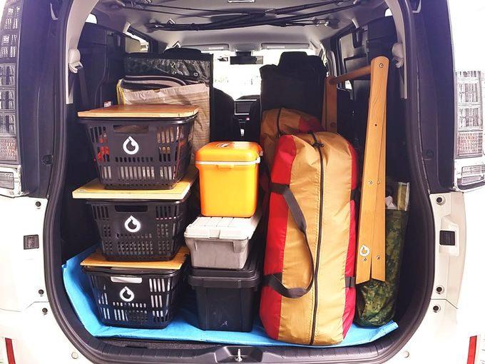 買い物カゴに天板があれば、車載で積み重ねできる
