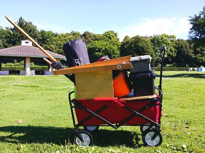 ソロキャンプの荷物をキャリーカート1回に収めた