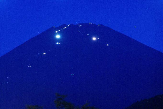 キャンピカ富士ぐりんぱから見る富士登山の光景