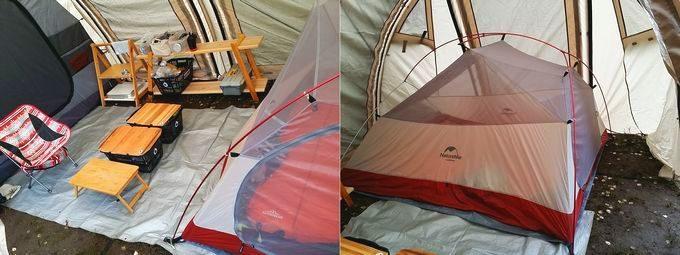 ネイチャーハイクのテントを大型テント(カマボコテント2)に入れる 詳細