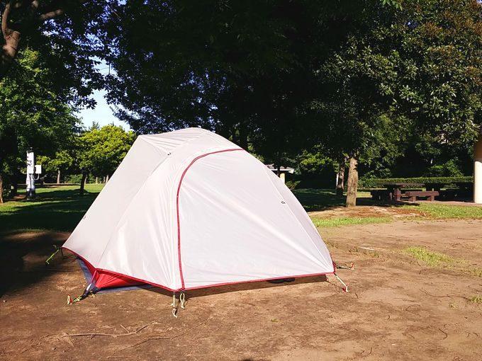 ネイチャーハイクのテントを設営が完了