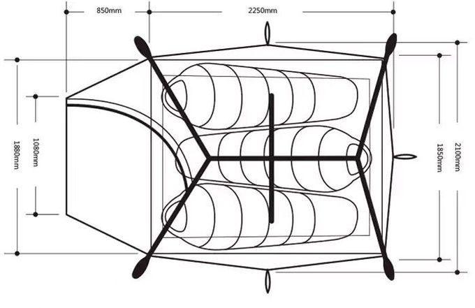 ネイチャーハイクのテント(3人用)のサイズ