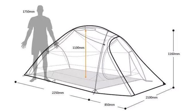 ネイチャーハイクのテント(3人用)のサイズ 高さ