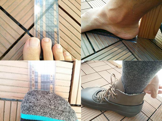 足の実測サイズと厚手の靴下履いた時のサイズ