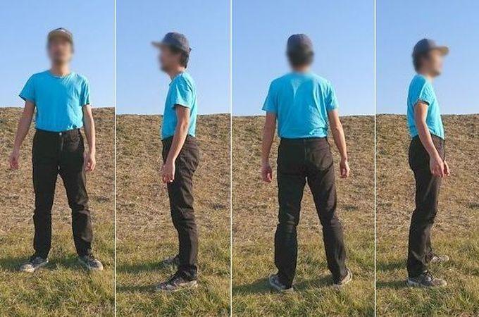 フェリシモの裏ボアパンツ メンズMサイズを実際に履いた状態 立ち姿