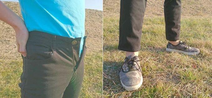 フェリシモの裏ボアパンツ メンズSサイズを実際に履いた状態 ウェスト、裾(スソ)