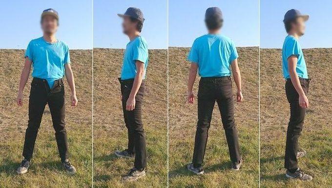 フェリシモの裏ボアパンツ メンズSサイズを実際に履いた状態 立ち姿