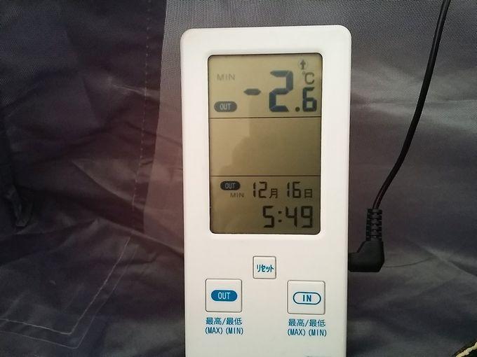 12月若洲公園キャンプ場での最低気温