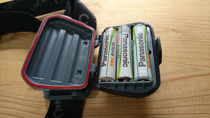 Litom LEDヘッドライト(HP3A-S1)の電池パックと防水機能