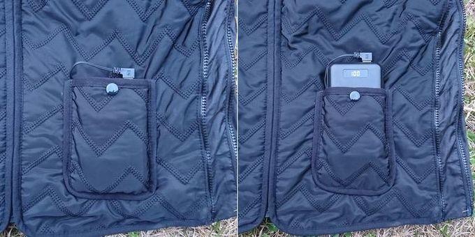 Vinmoriの電熱ベストのモバイルバッテリーを入れるポケット