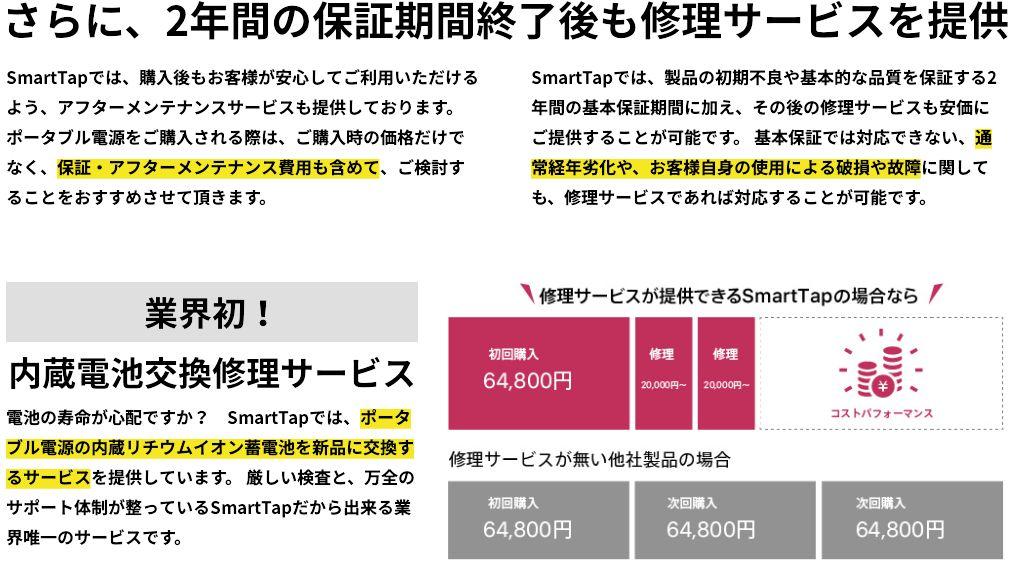SmartTap PowerArはバッテリー交換が可能
