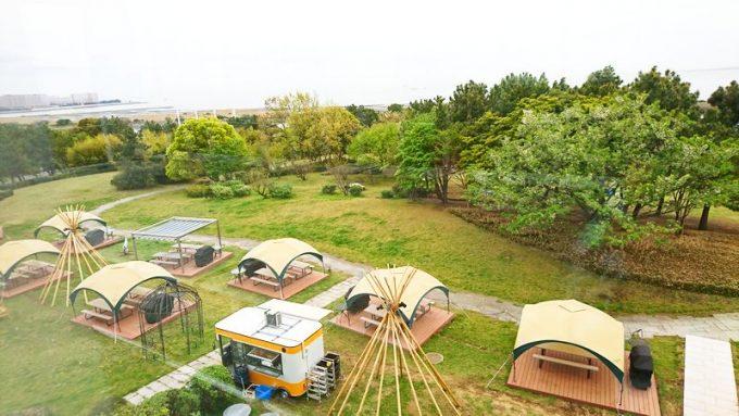 葛西臨海公園 SORAMIDO BBQ (ソラミド バーベキュー)のサイト群 上から2