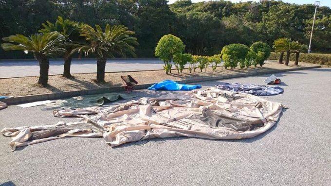 袖ヶ浦海浜公園でテントを乾燥