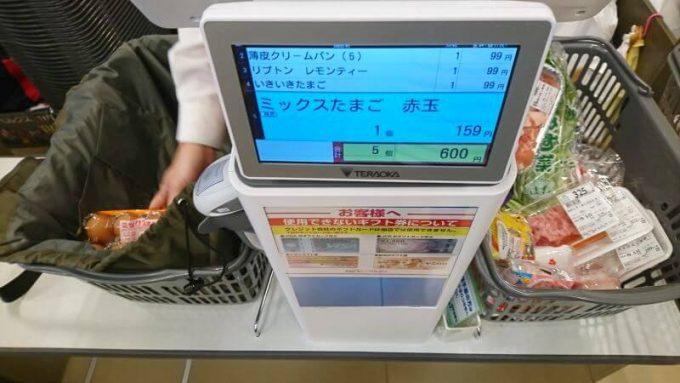 リュック型のエコバックに店員さんが商品を通す
