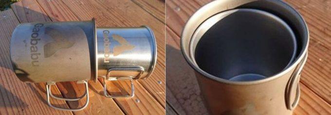 ガオバブ(Gaobabu)ステンマグカップをチタンマグカップにスタッキング