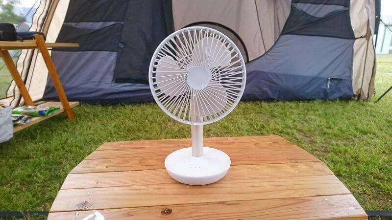 ルーメナーデスクトップ扇風機をテント内で使う