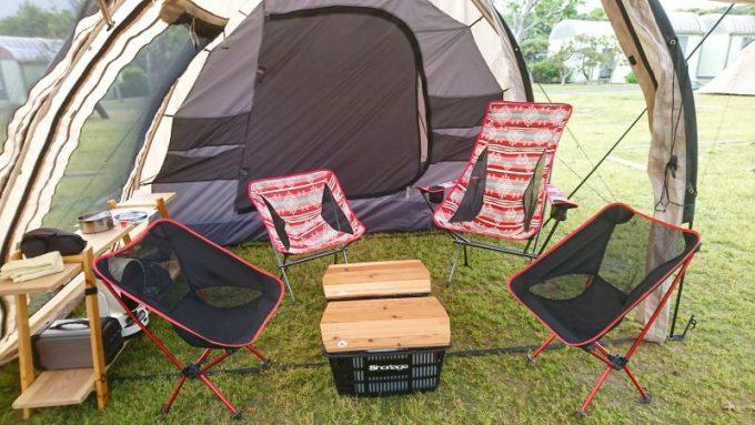 マグクルーズのアウトドアチェアはテント内のレイアウト・コーディネートが楽しめる