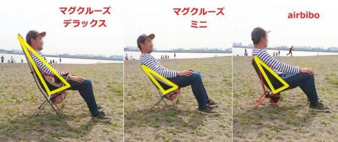 マグクルーズのアウトドアチェアとairbiboの座り心地を比較