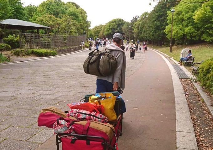 レジカゴリュックとキャリーカートでデイキャンプの荷物が運べる
