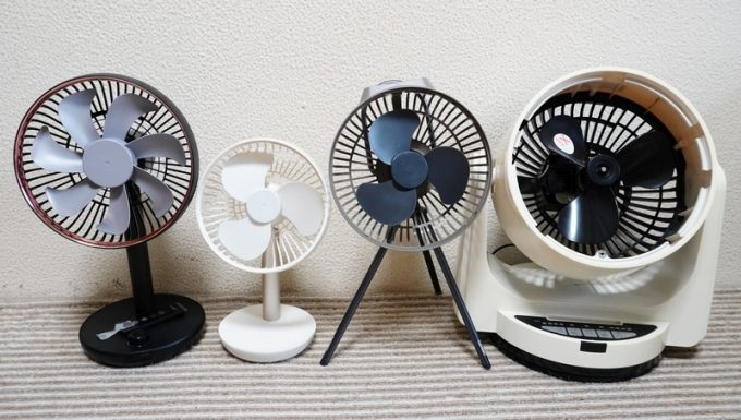 キャンプ用の扇風機のファンのサイズ比較