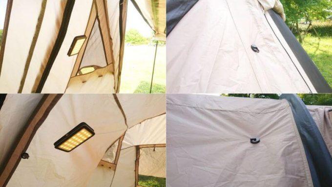 ルーメナー2のマグネットハンドルでテントに貼れる