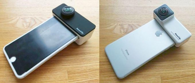 PanoClipのSNAP-ON 360° LENSをiPhoneに装着