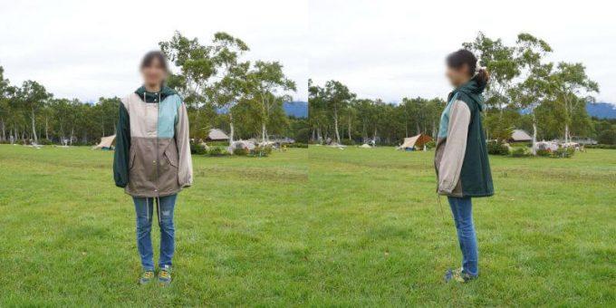 155cm女性が「リブ イン コンフォート×魅惑のキャンプ 綿素材にこだわった配色パーカー」レディースL / メンズSサイズを着用