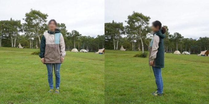 155cm女性が「リブ イン コンフォート×魅惑のキャンプ 綿素材にこだわった配色パーカー」レディースSサイズを着用