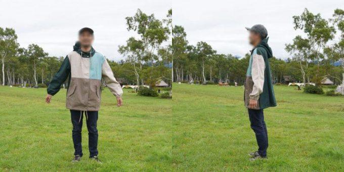 170cm男性が「リブ イン コンフォート×魅惑のキャンプ 綿素材にこだわった配色パーカー」レディース3L / メンズLサイズを着用