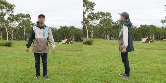 170cm男性が「リブ イン コンフォート×魅惑のキャンプ 綿素材にこだわった配色パーカー」レディースLL / メンズMサイズを着用